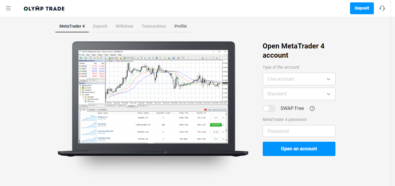 How to register and setup MetaTrader 4 (MT4) for Olymp Trade